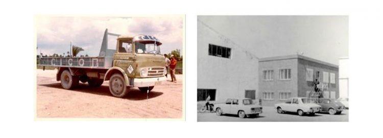 Camión y edificio antiguos de la empresa del sector metálico